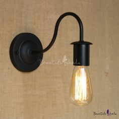 Simple Black 1 Light Gooseneck Edison Bulb Wall Sconce