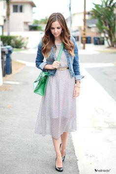 Striped Bandeau Chiffon Dress - Womens Fashion Clothing at Sheinside.com