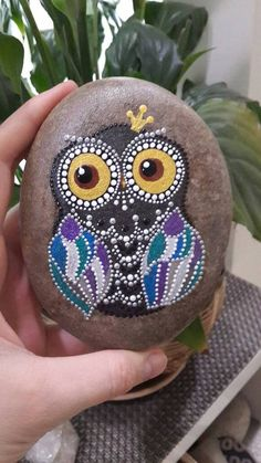 Dot  Art Owl  Princess Painted Stone Fairy Garden Gift