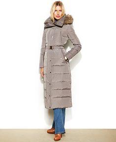 MICHAEL Michael Kors Hooded Faux-Fur-Trim Belted Down Maxi Puffer - Coats - Women - Macy's
