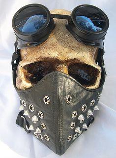 2 pc Black Faux Leather Steampunk Dust Riding MASK by jadedminx