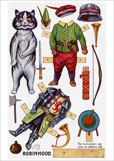 Robin Hood Paper Doll ~Dressing Dolls' Fairy Tale, Series V Imprimibles Toy Story Gratis, Papercraft Anime, Nursery Rhyme Characters, Louis Wain Cats, Paper Dolls Printable, Paper Animals, Vintage Paper Dolls, Paper Toys, Cat Art