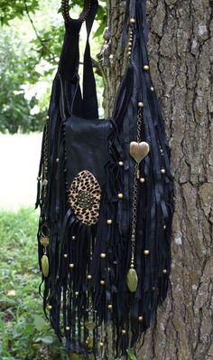 9058da26fc99 Handmade Black Leather Fringe Bag Brass   Black Hippie Boho By ShellB