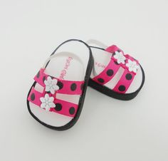 American Girl 18 doll shoes sandals deep pink by MegOriGirls, $9.00