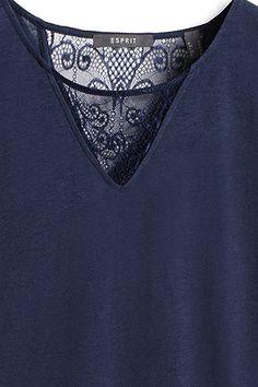 Esprit / Zartes Jersey-Shirt mit Spitze