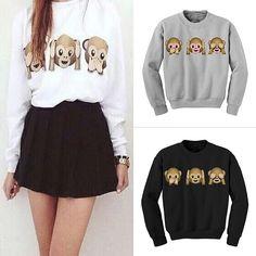 2017 Autumn Girl Women Cute College Wind Hoodies O-neck Pullovers Warm Winter Cartoon 3 Monkeys Sweatshirts Casual Printed  New #Affiliate