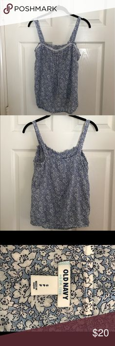 Old Navy tank top Old Navy blue and white floral tank top with elastic waist. Old Navy Tops Tank Tops