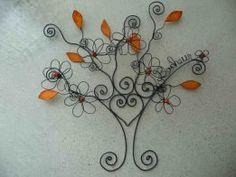 Arbre mural porte-photos feuillage orange