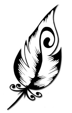 Would want the feather longer; I, also, like the swirl idea within the feather. Stencil Art, Stencil Designs, Stencils, Wood Burning Crafts, Wood Burning Patterns, Feather Drawing, Colossal Art, Feather Tattoos, Silhouette Art