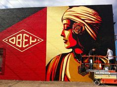 Shepard Fairey created a number of new graffiti murals in Dallas