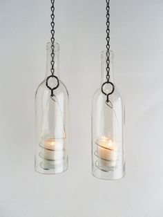 Wine Bottle Candle Holder Hanging Hurricane Lanterns Set of 2 Clear Glass Outdoor Lighting by BoMoLuTra on Etsy