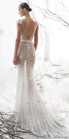mira zwillinger bridal 2017 cap sleeves sweetheart illusion jewel neck beaded sheath wedding dress (lily) bv vback train