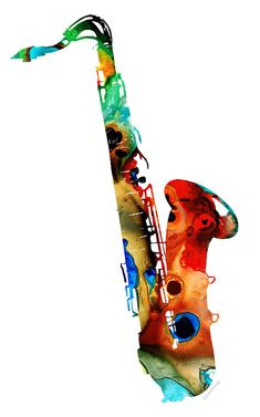 Colorful Saxophone By Sharon Cummings Painting  - Colorful Saxophone By Sharon Cummings Fine Art Print