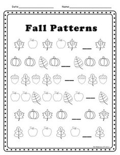 Fall Theme Activities (literacy and math) for kindergarten or grade one. Could use this as an auditory closure activity. Fall Preschool, Preschool Math, Preschool Worksheets, Kindergarten Activities, Math Resources, Classroom Activities, Teaching Math, Number Activities, Teaching Ideas