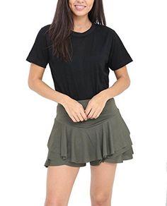 6f40d0b118 Womens Layered Frill Ruffle Mini Skirt Ladies Celebrity High Waist Skorts  Dress (M/L (UK Khaki)