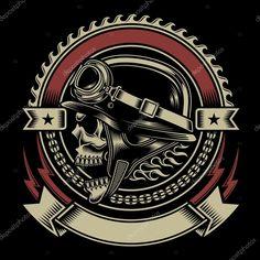 Downloaden - Vintage biker schedel embleem — Stockillustratie #52828701