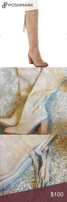 Franco Sarto Eckhart size 8.5 Taupe over the knee boots. Worn once. Tassels in back. Heel. Suede Franco Sarto Shoes Over the Knee Boots