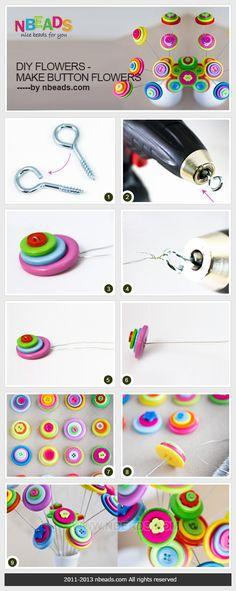 diy flowers - make button flowers