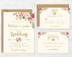 Florales de la boda invitación boda imprimibles invitación Suite rústica invitan a Boho boda invitamos a peonías invitan a Boho II conjunto de la boda