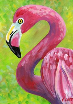 "5""x7"" Original Acrylic Painting, Pink Flamingo Bird, Art on Flat Panel Canvas #IllustrationArt"