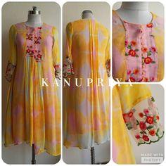Pastel Shibori Asymmetrical Tunic by Label Kanupriya Kurta Designs Women, Salwar Designs, Blouse Designs, Hand Embroidery Dress, Embroidery Suits, Stylish Dresses For Girls, Stitching Dresses, Kurti Designs Party Wear, Designs For Dresses