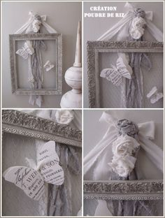 A flight of butterflies . Marcos Shabby Chic, Rosa Shabby Chic, Shabby Chic Mode, Style Shabby Chic, Shabby Vintage, Shabby Chic Decor, Cuadros Diy, Creation Deco, Home And Deco