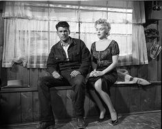 """Marilyn and co-star Don Murray on the set of """"Bus Stop"""" photographed by Milton Greene"""