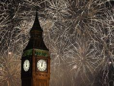 Fireworks explode across the London skyline and Big Ben  #sky #fireworks #explode #london #skyline