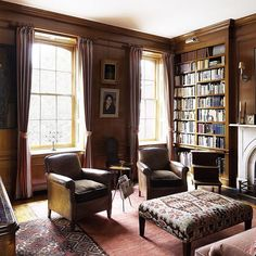 Sheila Bridges designed this mahogany-paneled library in New York City's Gramercy Park to resemble a traditional men's club. The leather club chairs are antique, and the desk is a circa-1840 writing table from Ireland. See more #fathersday ready rooms on #TheStudy.