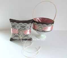 Ring Pillow and Flower Girl Basket for Wedding Custom Made with sparkly brooches on Etsy, $107.74 AUD