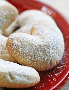 Almond Crescent Cookies ~ Little almond cookies shaped into crescents and dusted with powdered sugar. Great #Christmas cookie! On SimplyRecipes.com