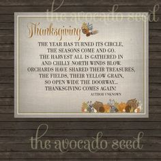 Thanksgiving Poem Printable Art for Display - Instant Download in three sizes