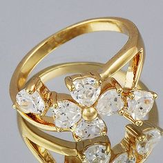 awesome Fashion jewelry CZ Flower Yellow Gold Filled Womens heart Rings Size 7 - For Sale