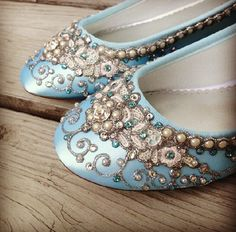 Wedding Shoes - Fairy Tale Inspired Closed Toe Flats - Lace, Crystals and Pearls - Blue/White/Ivory/Custom Colors by BeholdenBridal on Etsy https://www.etsy.com/no-en/listing/122355201/wedding-shoes-fairy-tale-inspired-closed