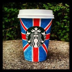 Union Jack on a Starbucks cup Starbucks Crafts, Starbucks Cup Art, Starbucks Drinks, Starbucks Coffee, Coffee Cup Art, Flags Of The World, Union Jack, Color Of Life, Creations
