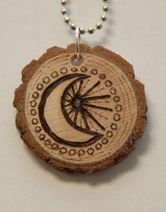 Moon and Sun. $18.00, via Etsy.    pyrography, wood burned necklace, handmade
