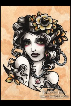 Sad Lady Tattoo Print. flower pearls beads old school  tattoo flash art ~A.R.