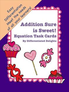"An easy to prep, easily differentiated, math resource that will make your mouth water. Use for practice counting or for constructing number sentences/equations. Students count the treats, either in total, or by type and complete the corresponding answer sheet. Includes two versions of ten different task cards. Also includes three different answer sheets. Use as task cards as a math center or post them for a ""write the room"" type activity. Allow all your students to succeed with one product!"