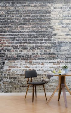 With its naturally aged look, our industrial brick wall paper mural works w Grey Brick Effect Wallpaper, Brick Wallpaper Mural, Rustic Wallpaper, Grey Wallpaper, Home Wallpaper, Brick Design, Wall Design, Home Design Blogs, Exposed Brick Walls