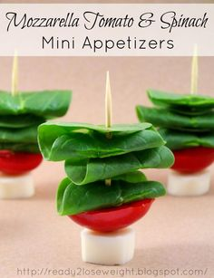 Mozzarella Tomato Spinach Healthy Appetizer option from {Ready 2 Lose Weight}