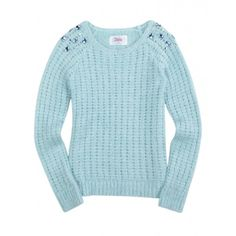 Fuzzy Embellished Shoulder Sweater (270 BRL) ❤ liked on Polyvore featuring kids clothes