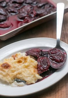 Baked Rice Pudding with Plum Compote
