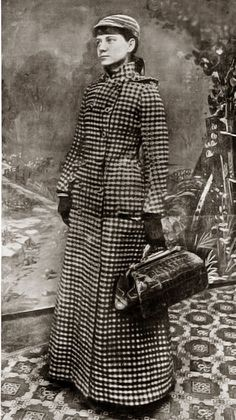 Nellie Bly, pioneer female journalist. She wrote about life in Mexico, feigned madness to investigate reports of brutality and neglect at the Women's Lunatic Asylum on Blackwell's Island, and travelled around the world in less than 80 days.