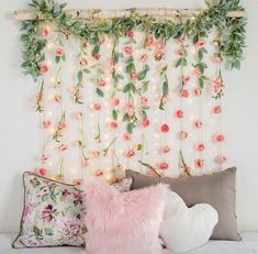 Faux Flowers DIY Bedroom Wall Decor creative home diy Unique Wall Decor for Spring and Summer Styling Diy Wall Decor For Bedroom, Decoration Bedroom, Unique Wall Decor, Floral Bedroom Decor, Diy Room Decor For Girls, Diy Room Decor For College, Cute Diy Room Decor, Girls Room Wall Decor, Floral Room