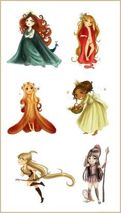 Six main chibi goddesses by ~Arbetta on deviantART Hera, Aphrodite, Persephone, Demeter, Artemis and Athena