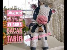 35 cm tall amigurumi calf section front and back leg preparation . Crochet Cow, Crochet Animals, Crochet Hats, Baby Knitting Patterns, Crochet Patterns, Cow Pattern, And July, Amigurumi Toys, Stuffed Animal Patterns