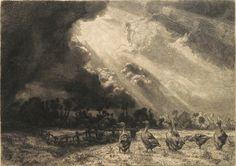 La nuée d'orage - gravure originale de Félix Bracquemond (1833-1914) : Un champ devant la lisière d'un bois.A gauche, une barrière dans un pli de terrain. A droite, six oies au premier plan. Grand ciel, chargé de nuages très sombres dans la partie gauche, d'où s'échappent des rayons de soleil qui traversent la partie droite, faisant ainsi des traînées lumineuses et sombres. (Henri Béraldi - les graveurs du XIXe siècle). MAS Estampes Anciennes - Antique Print since 1898