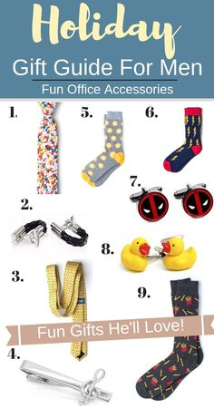 Don't know what to buy for the playful guy in your life this holiday season? Help him inject some fun into his daily office routine with these absolutely gorgeous office accessories. From socks to hilarious cufflinks, your loved ones will love these fun gifts! #mengiftguide #holidaygiftguideformen #cuffed