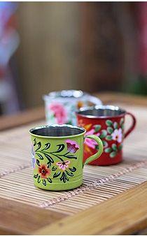 Caneca Elsk Bohemian Interior Design, Bohemian Decor, Tiffin Box, Kitchenware, Tableware, Tea Sets Vintage, Vintage Enamelware, Boat Painting, Bali