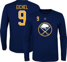 fc1fd6064 NHL Youth Buffalo Sabres Jack Eichel  9 Navy Long Sleeve Player Shirt